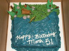 Fishing theme cake - made everything but fishing pole