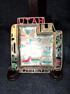 Vintage Cast Aluminum Souvenir Utah State Ashtray Made In JAPAN 1950s-60s VGUC
