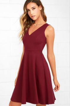 Welcome the Hello World Wine Red Midi Dress into your heart and your wardrobe! Medium-weight stretch knit forms a sleeveless bodice with a V-neckline and princess seams. A flirty midi-length, skater skirt falls from the fitted waist. Grad Dresses, Party Dresses For Women, Holiday Dresses, Dance Dresses, Homecoming Dresses, Cute Dresses, Short Dresses, Red Graduation Dress, Midi Dresses