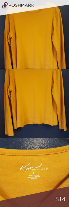 """KIM ROGERS LONG SLEEVE T-SHIRT LARGE 100% cotton  Measurements are approximate:  22"""" back from neck to hem 23"""" sleeve 22"""" across bust laid flat Kim Rogers Tops Tees - Long Sleeve"""