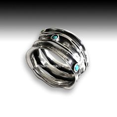 Silver ring multi stones ring turquoises band wide door artisanlook