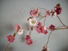 Flores, decorar, rama, crochet
