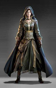 Elf Wizard Art Beautiful sorceress Mage Female Dark Fantasy Robe