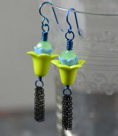 Flower Tassel Earrings Featuring Vintage Chartreuse and Pale Blue Lucite and Crystals by Jennifer Sadler Designs @etsy