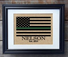Thin Green Line Family Name Burlap Print  Military by MilsoMade