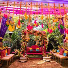 A Colourful Delhi Wedding With Stunning Decor And A Bride In Gorgeous Outfits! Mehndi Ceremony, Indian Wedding Ceremony, Indian Wedding Planning, Wedding Planning Websites, The Wedding Date, Plan Your Wedding, Dream Wedding, Mehendi Decor Ideas, Mehndi Decor