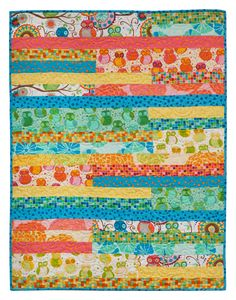 Simple strips free easy quilt pattern Della Flannel by Valori Wells 37 x… Strip Quilt Patterns, Beginner Quilt Patterns, Patchwork Quilt Patterns, Strip Quilts, Quilting For Beginners, Easy Quilts, Quilting Tips, Quilting Tutorials, Quilting Projects