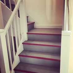 Olive and Burgundy painted Chalk Paint ™ staircase in my Shropshire Farmhouse.