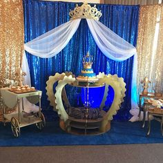 What a stunning cake stand at this Prince Baby Shower!! See more party ideas and share yours at CatchMyParty.com #cake #babyshower