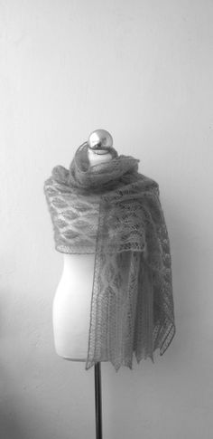 November Mist hand knitted lace stole kidsilk grey by DagnyKnit