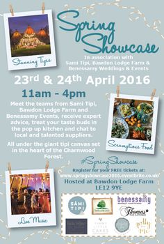 Book your FREE tickets to this years Spring Showcase taking place at Bawdon Lodge Farm LE12  9YE in association with Benessamy Events & Weddings. 23rd & 24th April 2016 11am - 4pm