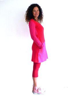 Entdecke lässige und festliche Kleider: Kleid mit Taschen - Patch in pink und rot made by by sita via DaWanda.com