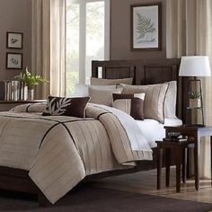 BEAUTIFUL-ELEGANT-BEIGE-TAN-BROWN-STRIPE-MODERN-COMFORTER-SET-QUEEN-CAL-KING
