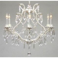"Harrison Lane ""Maria Theresa"" 6-light crystal chandelier to hang above bed in powder-blue French/Scandinavian country bedroom"