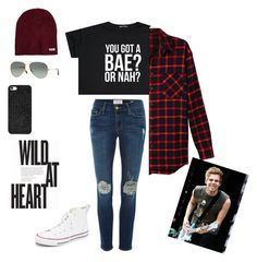 """""""Wild at heart"""" by jessmarrriee on Polyvore featuring LE3NO, Frame Denim, Converse, Neff, Ray-Ban, BaubleBar, women's clothing, women's fashion, women and female"""