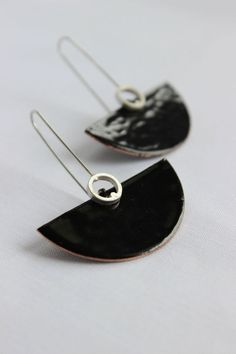 Deco earrings Sterling silver and copper with black enamel, dangle earrings in…