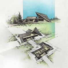 Architecture Collage, Vernacular Architecture, Concept Architecture, School Architecture, Modern Architecture, Cool Designs To Draw, Triangle House, Shading Techniques, Roof Detail
