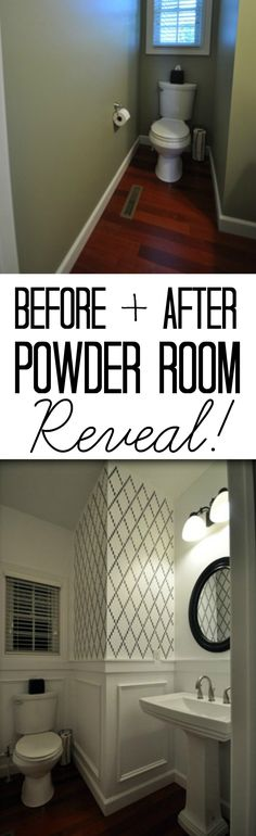 Before + After Powder room reveal.  Love the stencil!