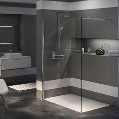 Une douche italienne tout en transparence, Aquarine Dream Home Design, House Design, Marie Claire, Black White Bathrooms, Man Cave, Diy And Crafts, Sweet Home, Bathtub, Mirror