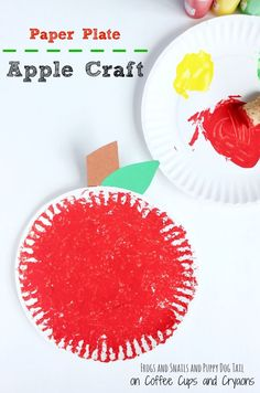 paper plate apple craft Kids Crafts, Easy Preschool Crafts, Paper Plate Crafts For Kids, Creative Activities For Kids, Fall Crafts For Kids, Toddler Crafts, Easy Crafts, Paper Crafts, Preschool Activities