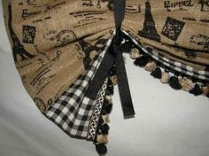 Country Window Treatments | French Country Paris Market Tie Up SHADE Valance Curtain Burlap Black ...