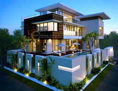 Stylish modern house plans that may inspire you Bungalow Haus Design, Duplex House Design, House Front Design, Modern Bungalow, Best Modern House Design, Modern Exterior House Designs, Dream House Exterior, Modern House Facades, Modern House Plans