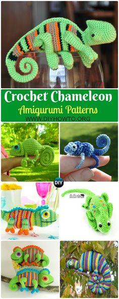 15 Crochet Chameleon Amigurumi Softies Toy Patterns via @diyhowto