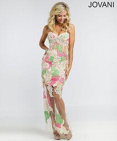 Long Multi Floral Prom Dress 2015