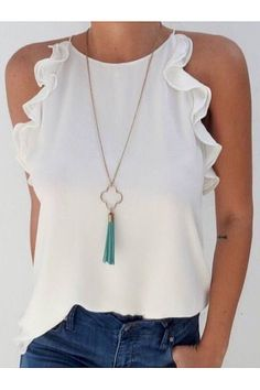 2019 Fashion New Women Sleeveless Loose Shirts Holiday Ladies Summer Casual Solid Blouse Tops Shirt Women Clothes, White / XXL Mode Top, Mode Inspiration, Casual Looks, Classy Casual, Ideias Fashion, Casual Outfits, Casual Wear, Fashion Outfits, Couture