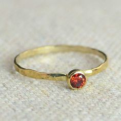 Dainty Gold Filled Garnet Ring, Hammered Gold, Stackable Rings, Mother's Ring, January Birthstone Ring, Skinny Ring, Birthday Ring, Garnet by Alaridesign