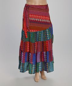 Red & Blue Tribal Stripe Tiered Maxi Skirt by Lakhay's Collection #zulily #zulilyfinds