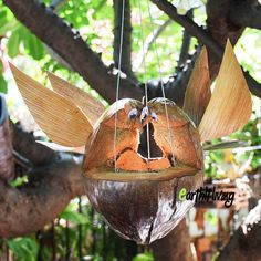 Handmade Carved coconut shell husk Couple Owl hanging plant pot planter eco outdoor garden decoration design ideas #HandmadebyEarthlyLiving # DIY # craft