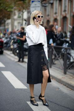 masculine/feminine contrast in layered length skirts See stylecab's 'How to Wear' winter skirts here http://stylecab.com/stylescoop/wear-winter-skirt/