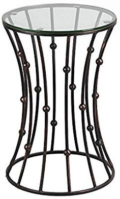 Amazon.com  Joveco Brownish Black Accent Metal Curve Shaped Round End Table  with Glass a2d650d07847