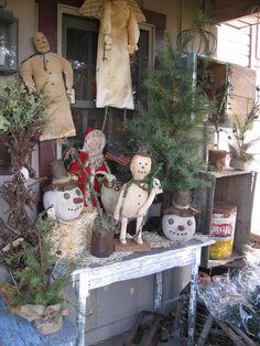Prim Christmas Porch...snowfolks 'n such <3