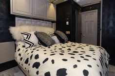 Fancy master bedroom in a bus. et your bus conversions done at Fox Trailer Servive