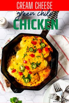 Anytime I can satisfy my cravings for Mexican or Southwestern food in a way that doesn't involve a lot of carbs I am ecstatic. Cream Cheese Green Chili Chicken is one of my go-to dinners. I prepare the cream cheese sauce as part of my weekly meal prep, which makes this keto dish an easy weeknight meal. #kickingcarbs #lowcarbrecipe #ketodinner #keto #easyrecipes Baked Chicken Recipes, Turkey Recipes, Low Carb Dinner Recipes, Keto Dinner, Freezing Cooked Chicken, Green Chili Chicken, Cream Cheese Sauce, Cream Cheese Chicken, Best Comfort Food