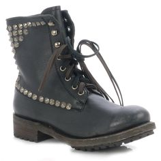 Ash Ralf Black Lace Up Antic Silver Studs