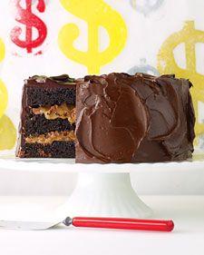 Chocolate Cake with Milk-Chocolate Crunch and Caramel Sauce