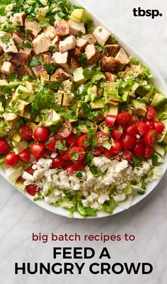 Go ahead and invite everyone you know to your next party. From slow-cooker ideas to giant salads, these 12 recipes make feeding a crowd totally doable (and totally delicious! Cooking For A Crowd, Food For A Crowd, Salads For A Crowd, Meals For A Crowd, Make Ahead Chicken Recipe For A Crowd, Clean Eating, Healthy Eating, Cooking Recipes, Healthy Recipes