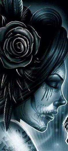 'Santa Muerte' by Maxx Gramajo Day Of The Dead Girl, Day Of The Dead Skull, Tattoo Studio, Sugar Skull Girl, Sugar Skulls, Catrina Tattoo, Totenkopf Tattoos, Lowrider Art, Neue Tattoos
