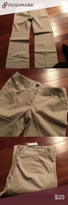 NWT WHBM light cream sateen pants sz 10s New super sleek khaki pants from White House black market - sz 10 short. Hook eye and zip closure   Beautiful pair of pants White House Black Market Pants