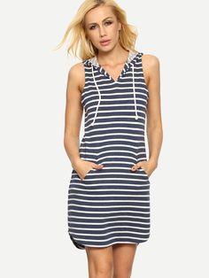 ¡Cómpralo ya!. Blue White Striped Hooded Pockets Dress. Blue Casual Cotton V Neck Sleeveless Shift Short Pockets Striped Fabric has some stretch Summer Tank Dresses. , vestidoinformal, casual, informales, informal, day, kleidcasual, vestidoinformal, robeinformelle, vestitoinformale, día. Vestido informal  de mujer color azul marino,blanco de SheIn.