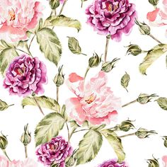 Beautiful watercolor flowers by knopazyzy on Creative Market Creative Illustration, Watercolor Illustration, Watercolor Pattern, Watercolor Flowers, Peony Flower, Flower Art, Glitter Flowers, Frame Wreath, Graphic Design Layouts