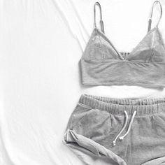 Shirt: grey crop top grey grey shorts matching set night sleepwear comfy lazy day crop tops shorts