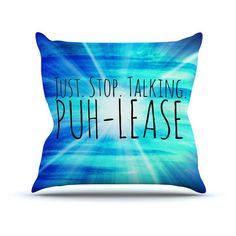 Kess InHouse Ebi Emporium Puhlease Blue Aqua Outdoor Throw Pillow - JD1057AOP0
