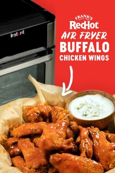 Well, wing my bell. Check out this recipe for air fryer buffalo chicken wings that everyone at the game day party will love. keto food list for beginners Air Fryer Oven Recipes, Air Frier Recipes, Air Fryer Dinner Recipes, Buffalo Wings, Pollo Keto, Super Bowl Essen, Air Fried Food, Air Fryer Chicken Wings, Baked Chicken Wings