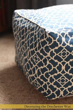 Decorating the Dorchester Way: My version of the Pouf! Uses 2 packages of blanket batting and 1 package loose batting Square Storage Ottoman, Diy Ottoman, Sewing Crafts, Sewing Projects, Diy Projects, Sewing Ideas, Diy Pouf, Home Crafts, Diy Crafts