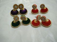 Silk thread earrings Colours can be customized To order whatsapp 8790245879