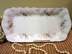Paragon Serving Tray Rectangular Affection Pattern England Bone China Gold Trim Roses blm by PorcelainChinaArt on Etsy